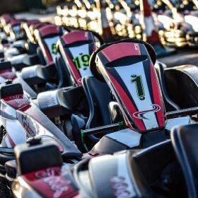 All 30 Sodi kart SR's lined up on the dummy grid