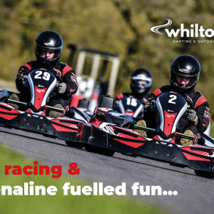 Drivers enjoying arrive and drive go-karting on the National Circuit