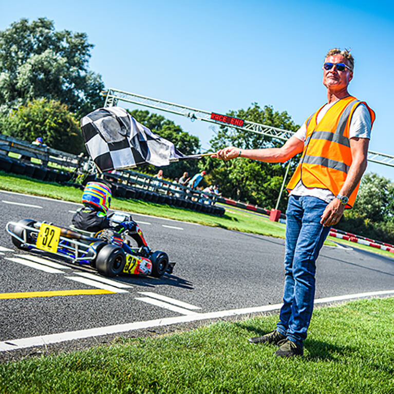 David Coulthard at Whilton Mill Kart Circuit